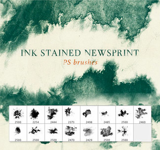 15 Ink Stained Newsprint Brushes