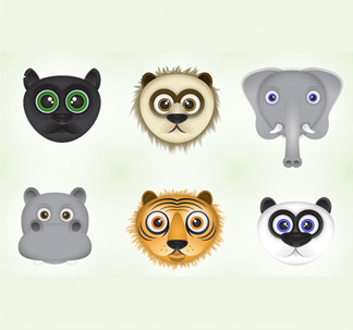 Cute Jungle Animals (6 vectors)