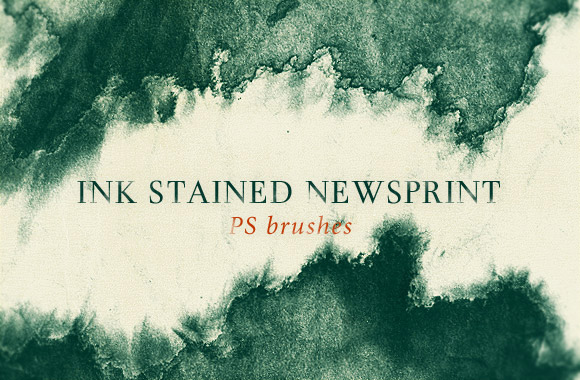 Ink stained news print brushes