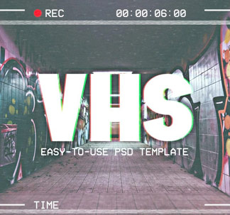 VHS Effect Photoshop Template