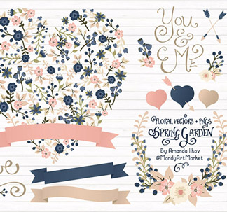 Floral Heart Vector Clipart (34 vectors)
