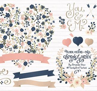 Floral Heart Vector Clipart (34 vectors)