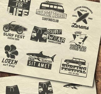Vintage Surfing Graphics Pack