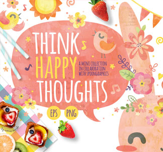 'Think Happy Thoughts' Graphic Pack