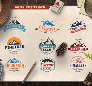 Mountain Vintage Logo Badges