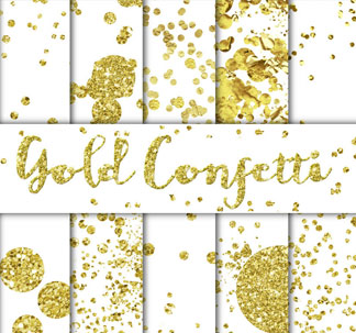30 Gold Confetti Overlays