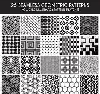 Seamless Geometric Patterns (25 Vectors)