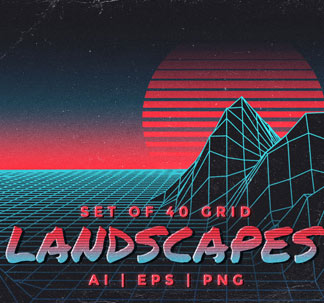 40 Retro Inspired Grid Landscapes