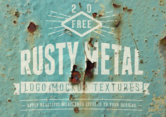 20 Free Realistic Rusty Metal Logo Mockup Textures