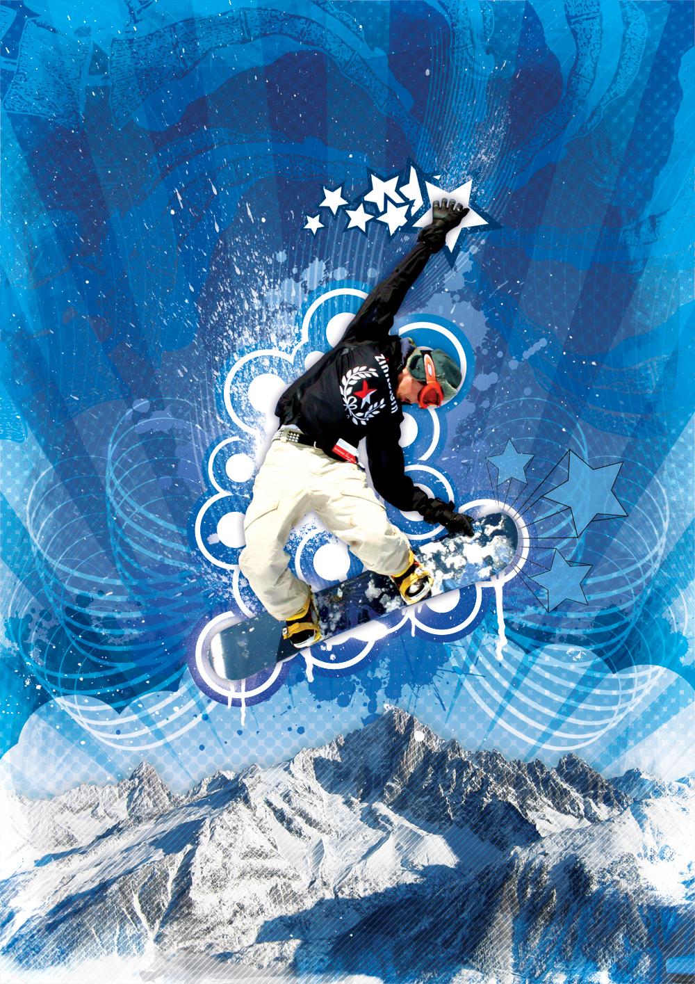 Combinando vetores com píxeis em arte gráfica Snowboarder-artwork_lg