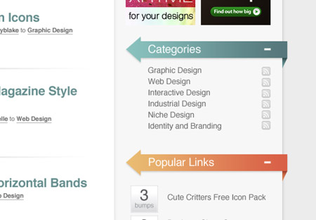 The Designbump colours are brought into the website design