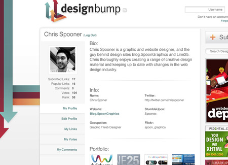 Design of the DesignBump user profiles