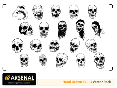 Hand drawn skulls preview