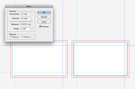 Create a print ready business card design in illustrator select the remaining guides and open up the move window once again this time enter 5mm in the fields now right click the document and select lock guides reheart Images