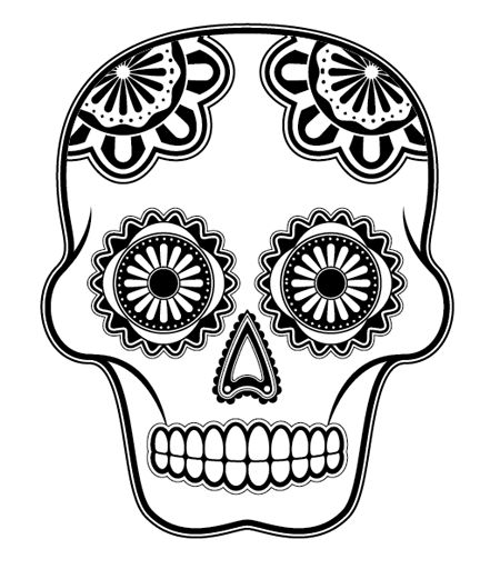 How to create a detailed vector sugar skull illustration for Day of the dead skull mask template