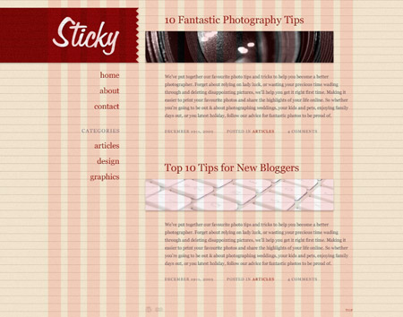 Preview of the Sticky WordPress theme design