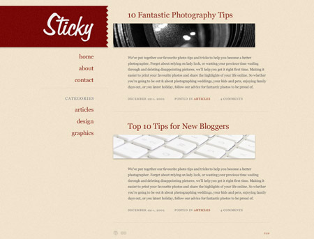 Sticky WordPress theme