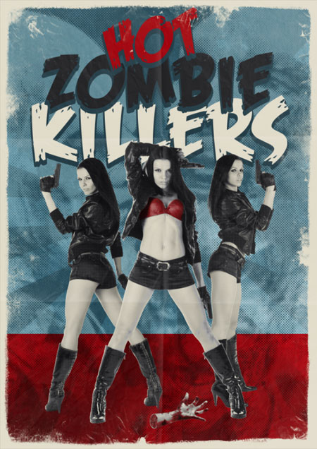 Hot Zombie Killers Vintage Movie Poster