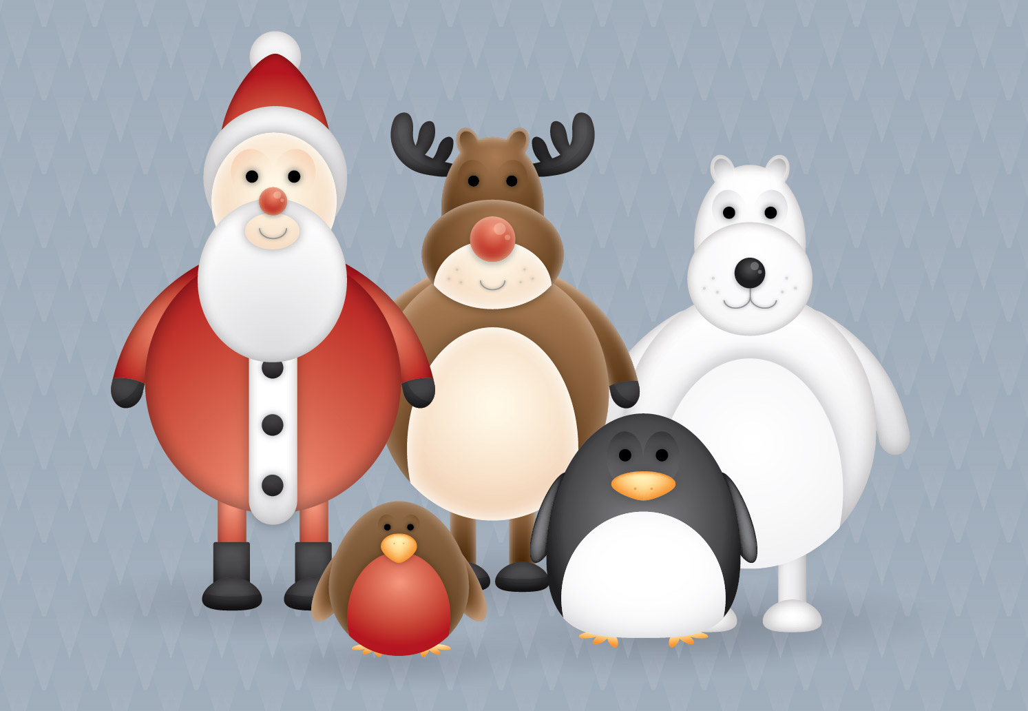 free christmas themed cute vector character pack