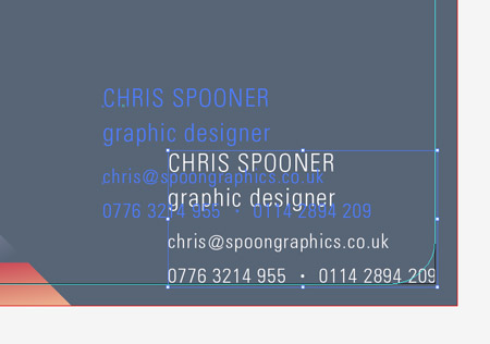How to design a print ready die cut business card align the text elements then move them exactly into the lower right corner hold the shift key then move the text elements back into their own space reheart Choice Image