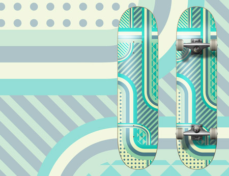 Vector patterned skate deck design
