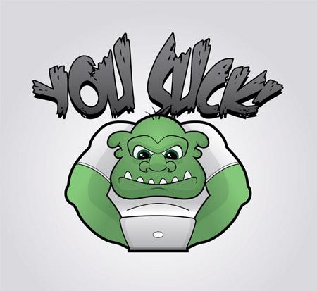 Grumpy vector troll character