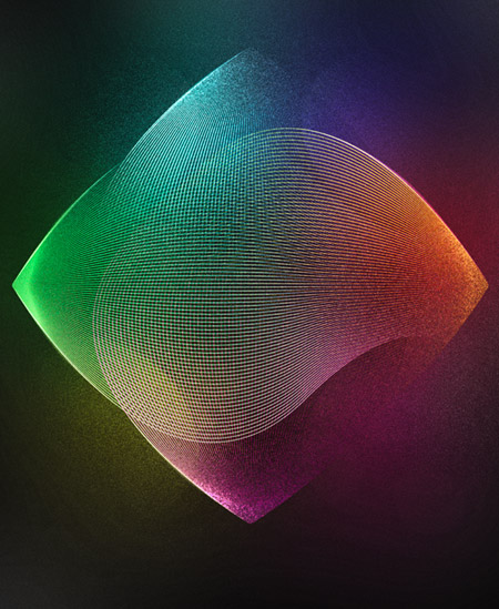Vibrant grainy abstract lines artwork