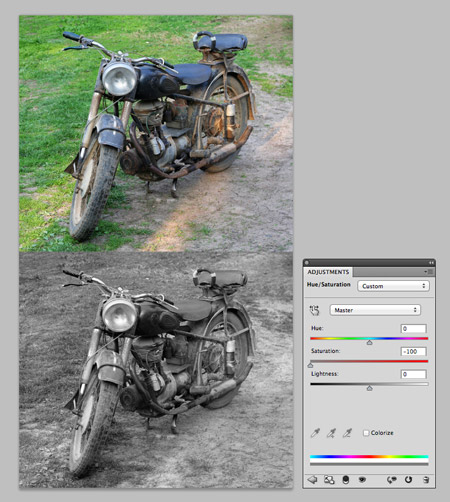 Photoshop Desaturate adjustment layer