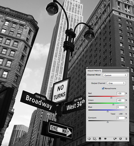 Photoshop Channel Mixer adjustment layer
