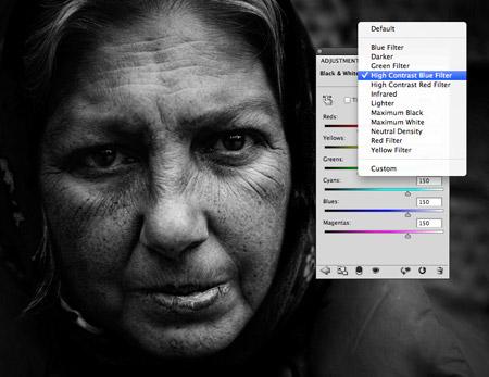 Photoshop black and white adjustment layer