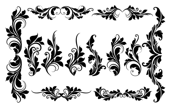 Roundup Of Free Vintage Ornament Floral Vectors