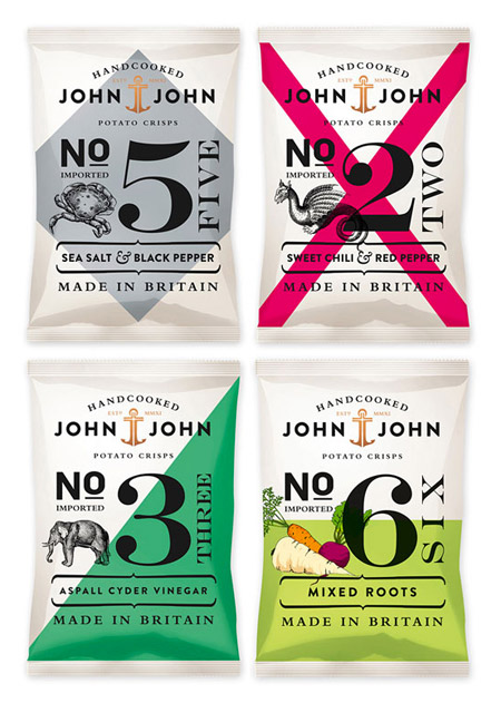 John John Crisps Packaging by Peter Schmidt Group