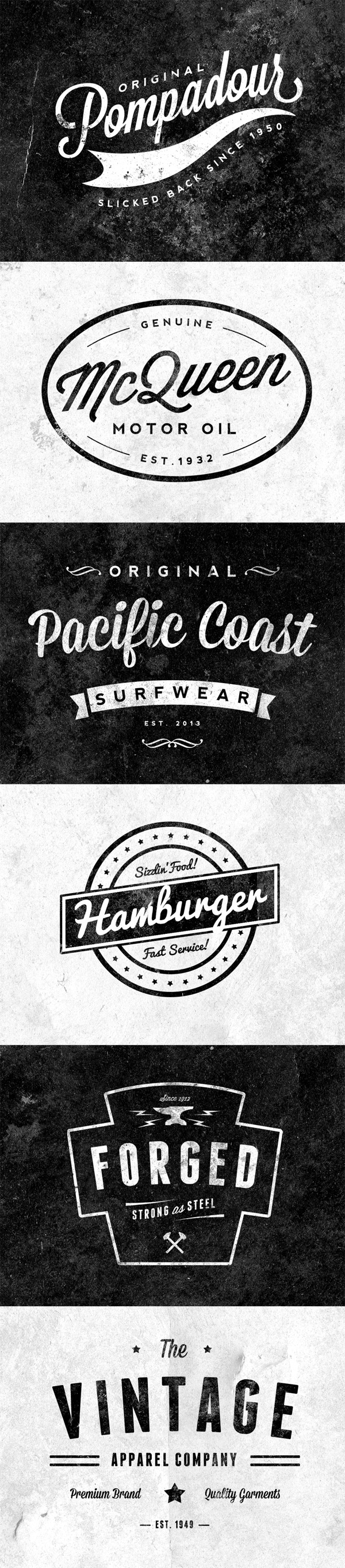 6 free customizable retro vintage logos emblems