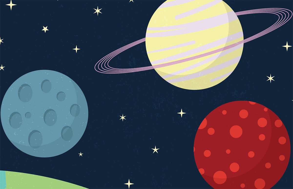 Beginner Illustrator Tutorial: Cartoon Style Space Scene