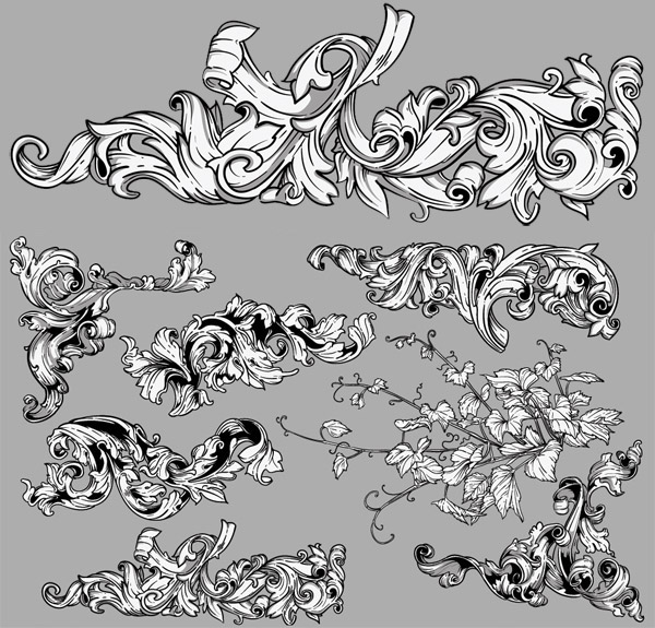Detailed flourish vectors