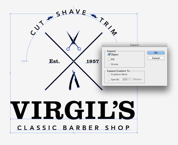 create a trendy vintage style barber logo in illustrator