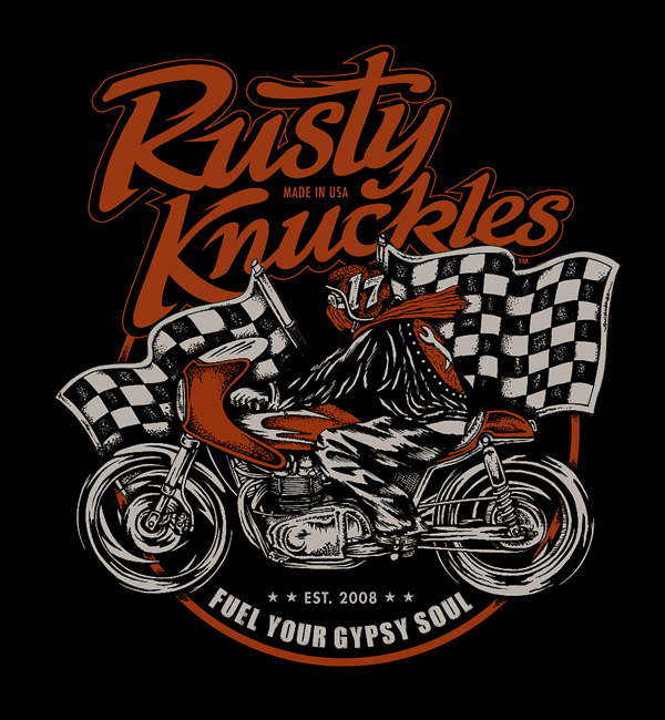 Cafe Racer Shirt Design by Rusty Knuckles
