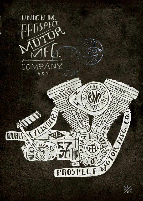 Hand Lettering Engine Block by BMD Design