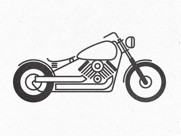 Pictogram style motorcycle illustration
