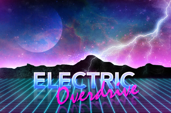 Electric Overdrive Retro Futuristic Neon Art