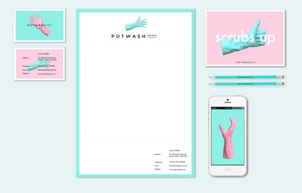 Pot Wash Josh Brand Identity by Sam Sharples
