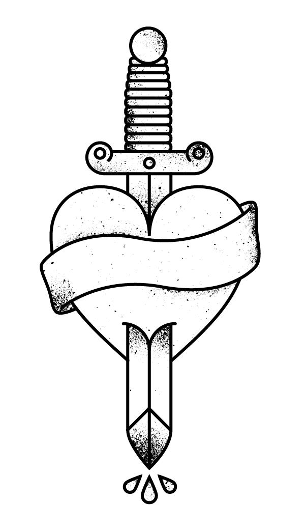 Dagger Through Heart Vector Tattoo Illustration