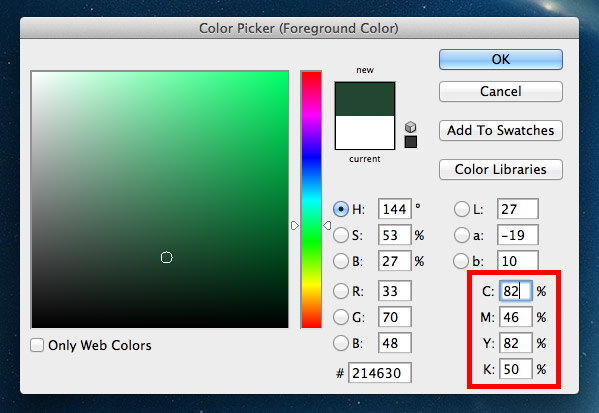 High CMYK colour values