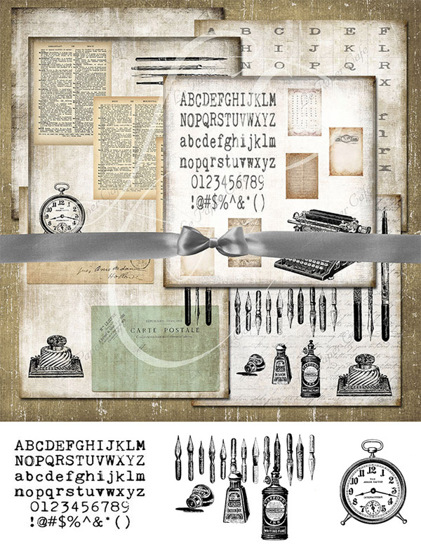 Digital Papers & Isolated Clipart Items from Le Paper Cafe