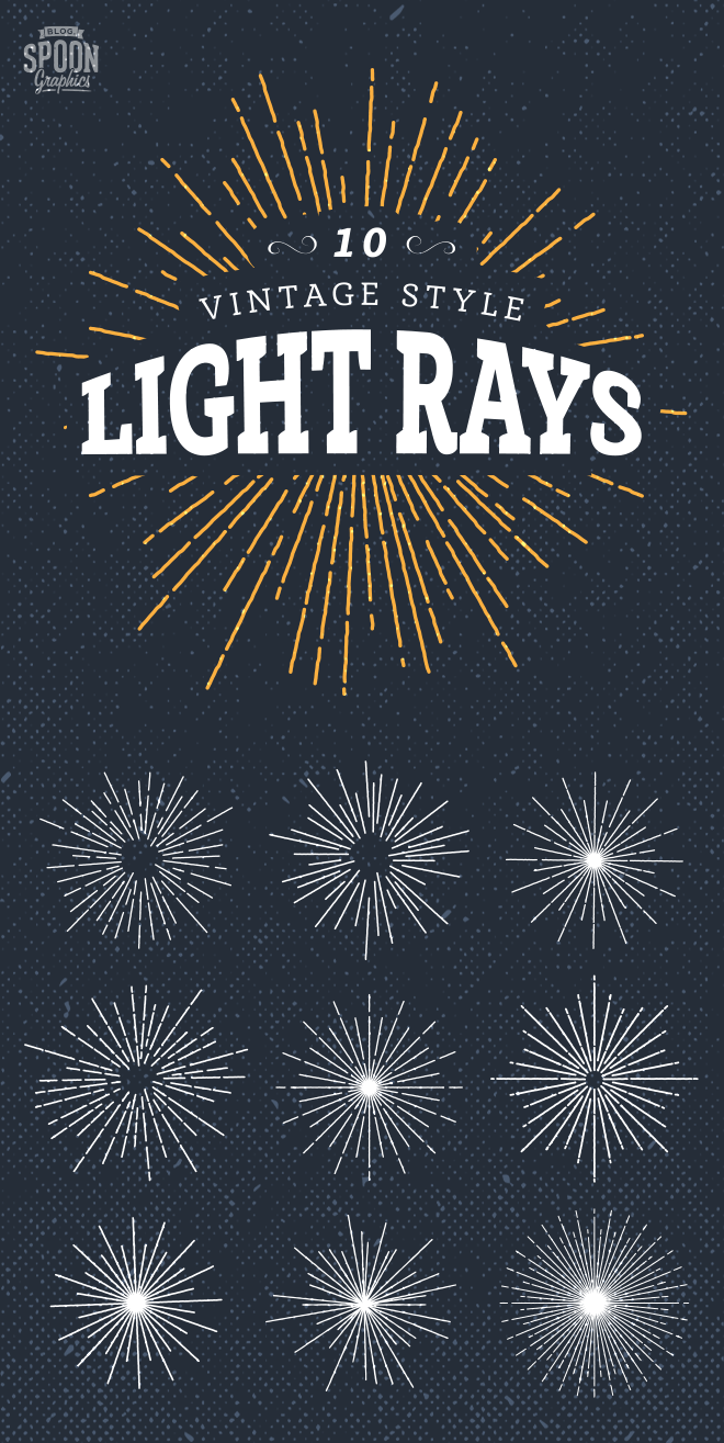 Vintage style light ray vectors
