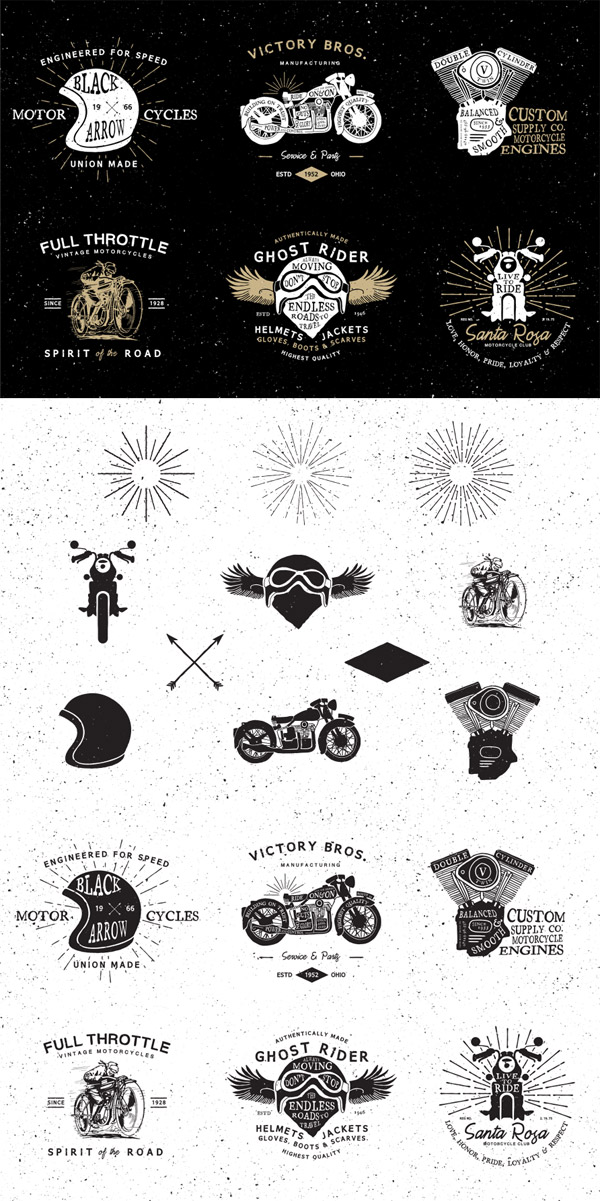 Vintage motorcycle logos preview