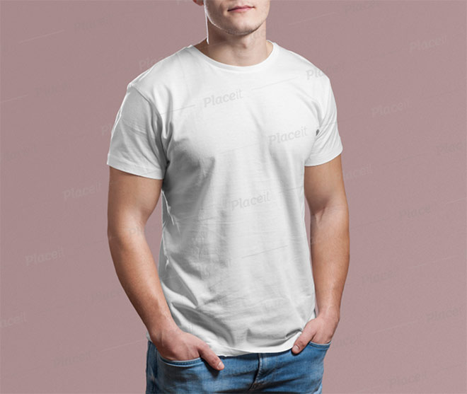 Cropped Face T-Shirt Mockup Featuring a Man