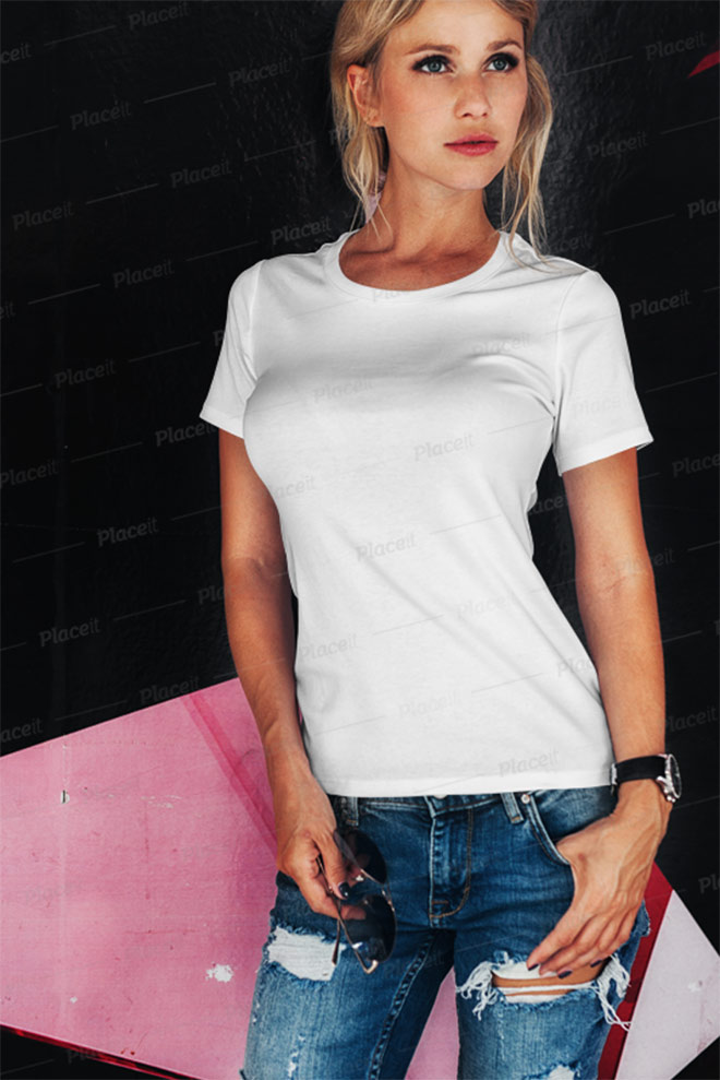 T-Shirt Mockup Featuring a Woman Posing