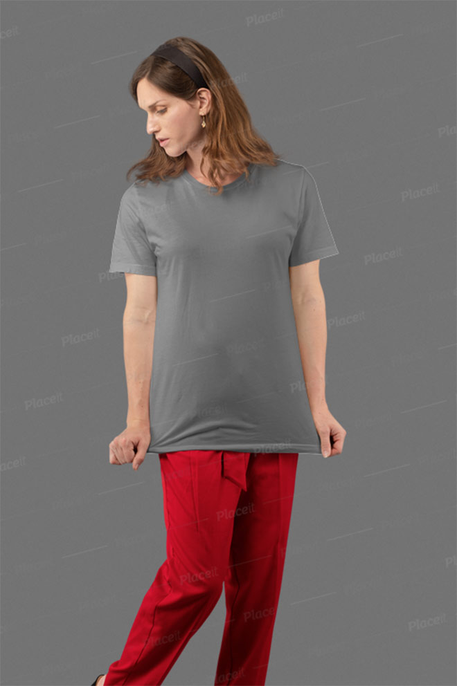 Mockup of a Woman Grabbing Her T-Shirt