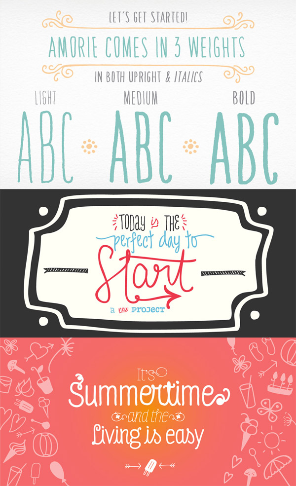 Amorie, DIY Time and Four Seasons fonts
